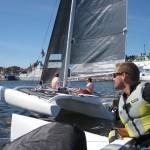 Multi 23 trimaran vid Volvo Ocean Race stoppet